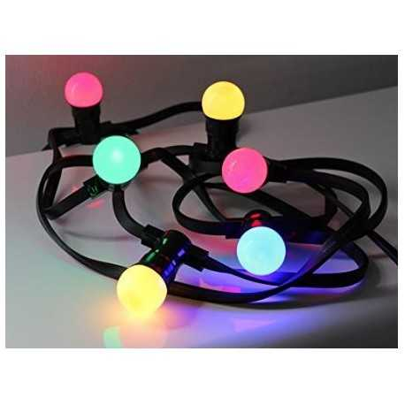 guirlande guinguette lumineuse ext rieure 10m 20 ampoules led couleurs chainable. Black Bedroom Furniture Sets. Home Design Ideas