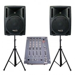 Pack 2x enceintes 400W + table de mixage