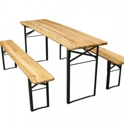 Location Table de Brasserie Pliante et 2 Bancs pliants 220 cm
